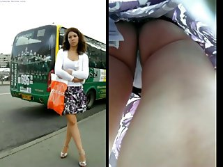 Upskirt bus stop white panties