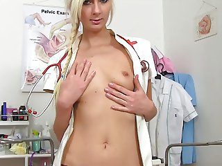 Nurse Simone shows her womb