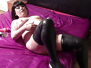 Rubbing My Naked Belly & Tits In Latex Stockings & Smoking