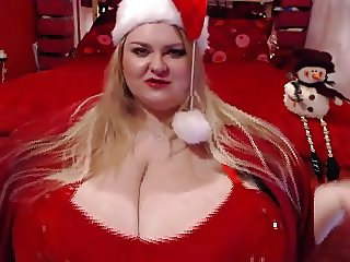 Red Christmas boobs - much bigger