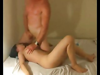 Asian slut fucks white bf and sucks him off