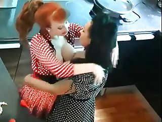 Redhead and Brunette Eat And Play On Kitchen Counter