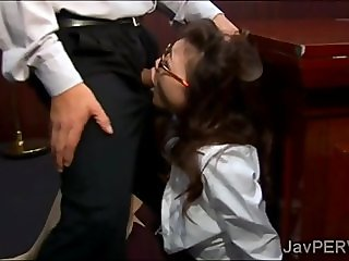 Gorgeous secretary sucks off her boss