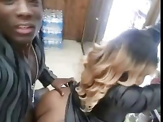 Black guy fucking woman in the store