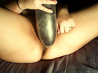Pre-fisting practicing - Large Dildo 12 inches all around