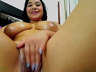 Huge Natural Titty Latina Teen Fucks on Cam