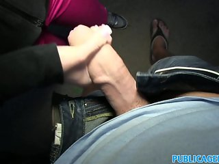 PublicAgent Black haired babe fucks in dark