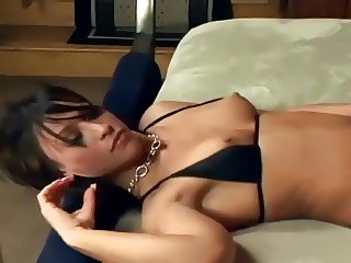 Brunette blowjob and foot sex in fishnet stockings