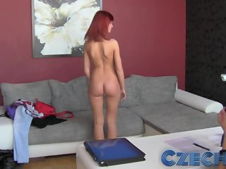 Czech - Gorgeous redhead first time with girl