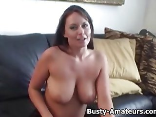 Busty Leslie masturbates after a hot interview