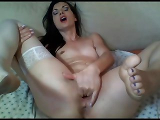 sexy girl masturbate hot orgasm - fingers and big toy + anal