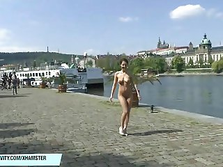 Amazing hot babe Antonia naked on public streets