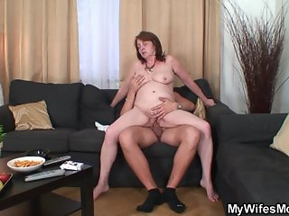 Busty mother inlaw rides cock after shower