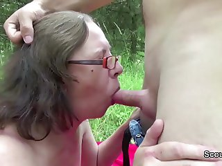 73yr old Granny Seduce Fuck by 18yr old german boy outdoor