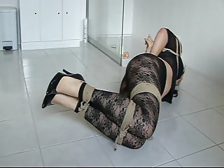 Brunette Hogtied