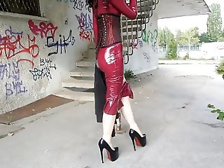Wearing Latex Dress and a Corset Outside
