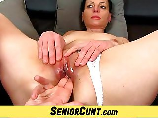 Lousy czech wife Renate device gape pussy