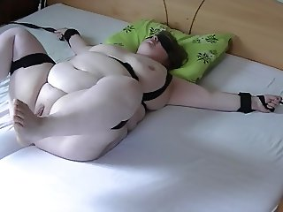 BBW Wife bound and played with on a rainy day