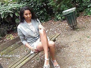 Teasing ebony voyeur Mels softcore exhibitionism and solo