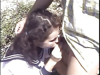 Schoolgirl gets butt-fucked outdoors