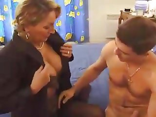 French Mature seduces not her son Best Friend