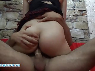 Hot asian chick lapdances and rides on hard cock