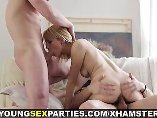 Young Sex Parties - Threesome with a dildo