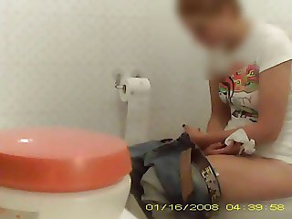 Re-up of old Redhead bitch in toilet t