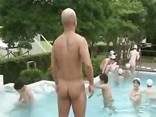 The indecent pool classes in nude school