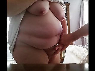 rubbing her hairy pussy,belly,big tits, soft fat ass,hidden