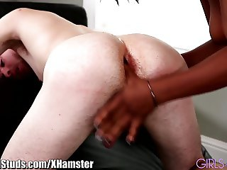 Jock gets Pegged by Ebony Girlfriend
