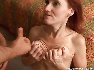 Skinny mature redhead loves to fuck and the taste of cum