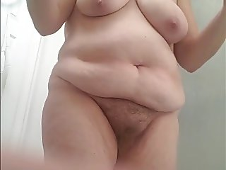wifes long hairy pussy pubes,soft belly, big tits