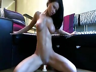 amazing fit babe riding her dildo