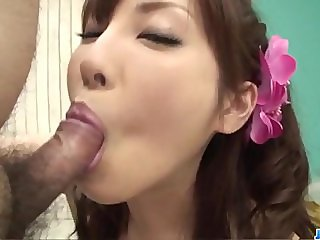 Kana Miura goes down on two large dicks in h