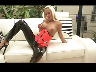 Blonde german in black and red latex