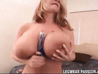 Watch me toy my big tits in nothing but stockings