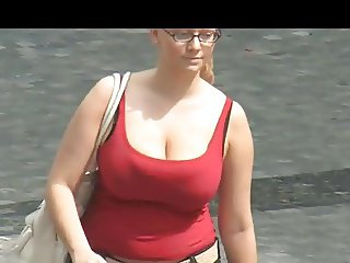 Two Busty Babes On Street