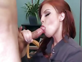 Boss Britney Amber deepthroats the cock like nobody else