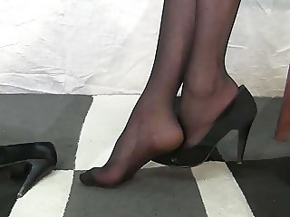Nylon shoes feet