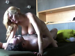 Hot chick with hanging tits fucked