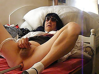 school girl crossdresser playing