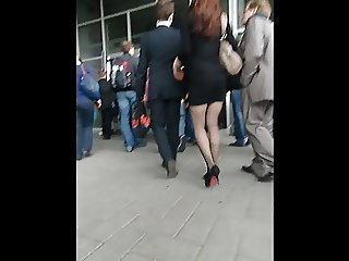 Black Mini Skirt and High Heels