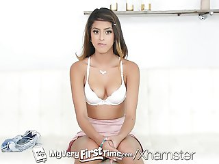 MyVeryFirstTime - Sophia Leone plays with 2 dicks
