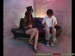 Uncensored Japan Cosplay porn Juicy blowjob in fishnets