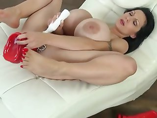 veryy big fake boobs and big dildo