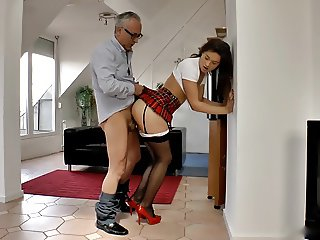 Old man and sexy hairy schoolgirl