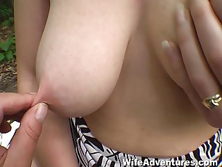 Hairy redheaded wife buttfucked in the woods