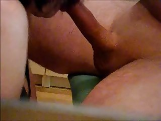 Blowing a stiff cock ends in a cum swallow