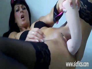 Horny milf fisting and fucking huge bottles